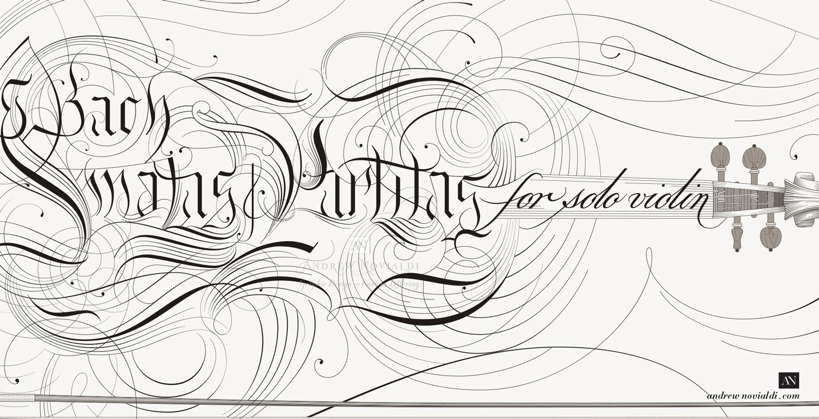 Bach Sonatas and Partitas for Solo Violin Calligraphic Engraved Delicate Flourishing Chaconne Ironwork Design.