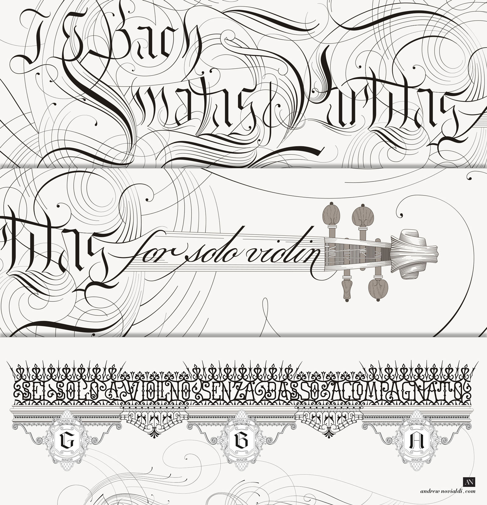 Bach Sonatas and Partitas for Solo Violin Calligraphic Flourishing Detail Wrought Iron Poster Design.