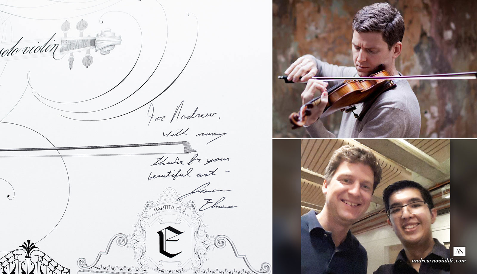 Bach Sonatas and Partitas for Solo Violin Dedicated to James Ehnes. Signature of James. With Andrew Novialdi.
