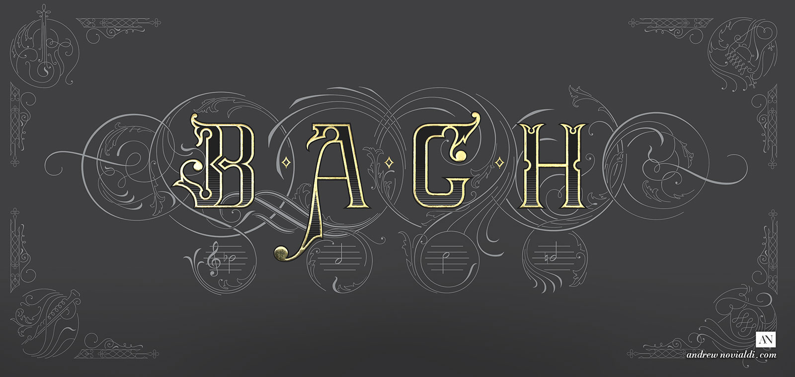 On The Theme of B.A.C.H The Art of Fugue Lettering Design
