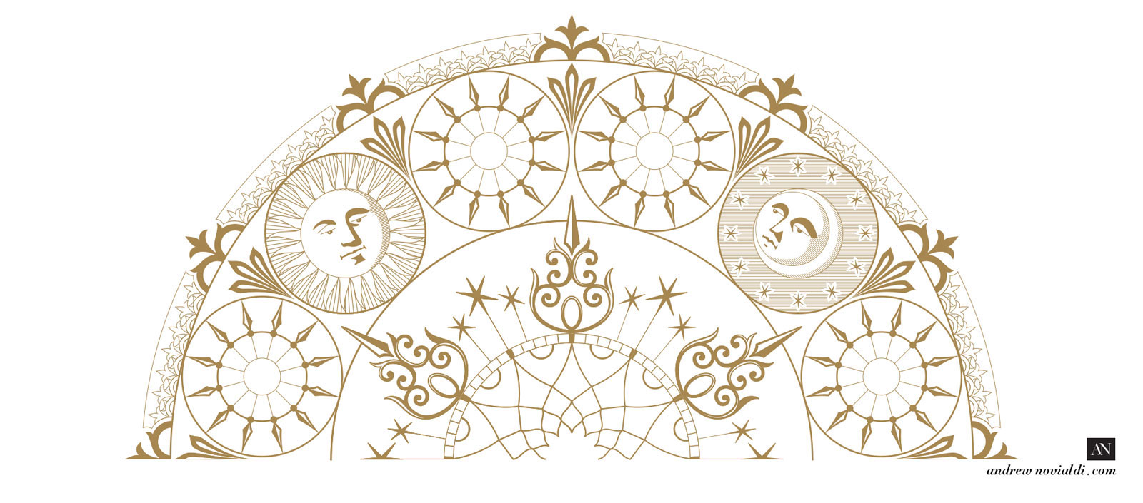 Renaissance Style of Clockface Sun and Moon Design