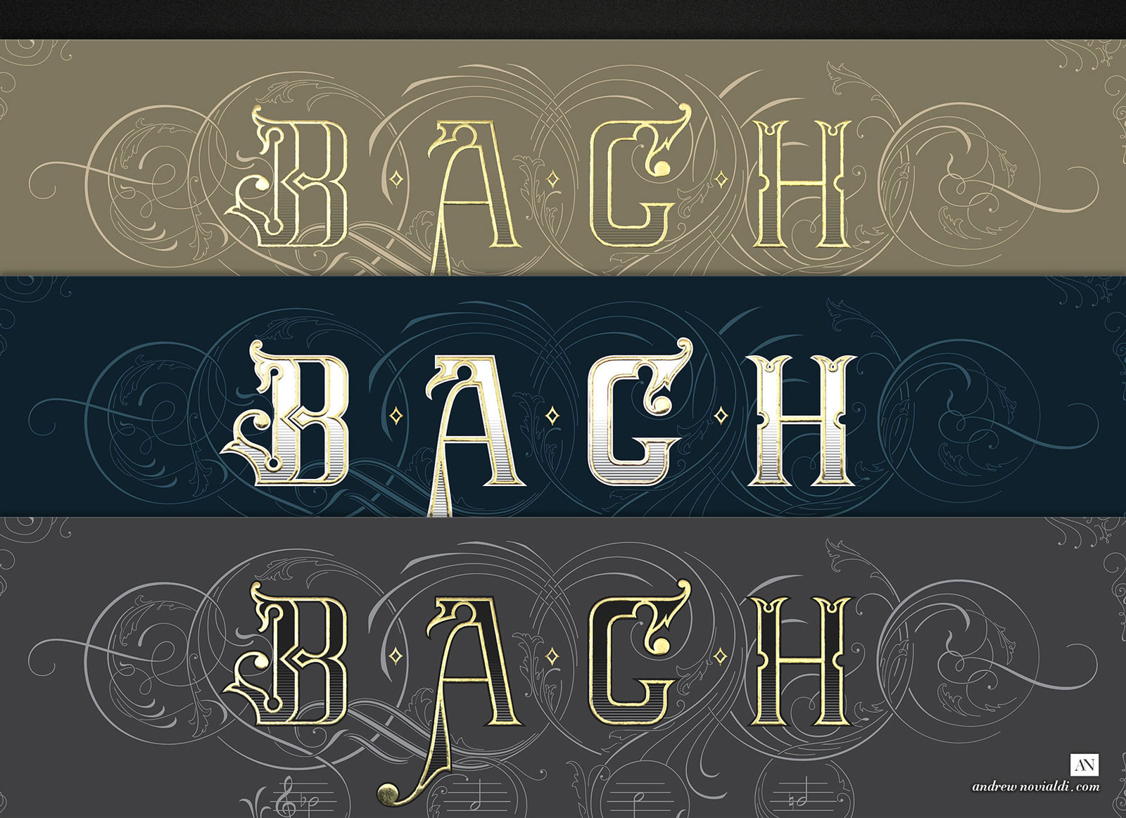 On The Theme of BACH Comes in Three Color Variant: Slate GRey, Golden Sand and Navy Blue