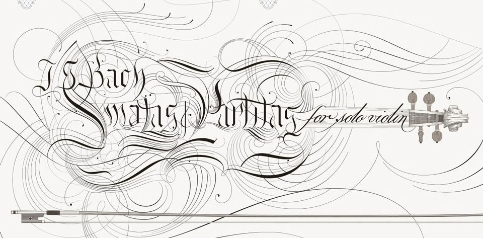 Bach Sonatas and Partitas for Solo Violin Calligraphic Flourishing Corona Ironwork Design
