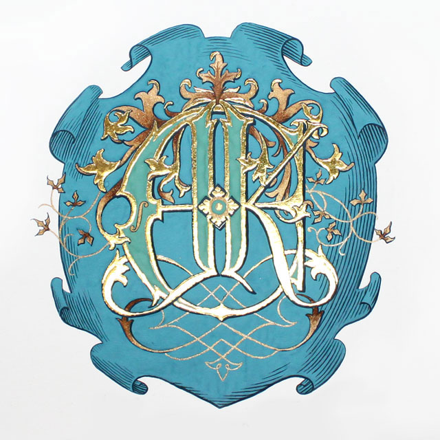 James Ehnes and Kate Monogram Gold Teal Shield Royal Family Crest