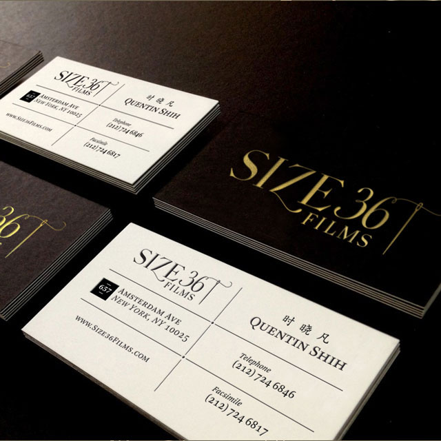 Size 36 Films Production Company Logo Visual Identity Modern Sleek Business Card