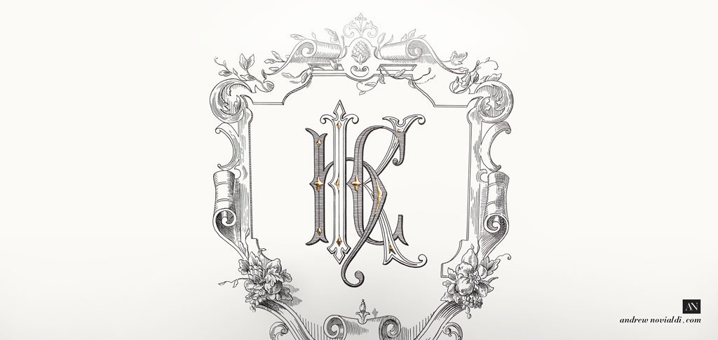 H K C Monogram Baroque Cartouche Fruit Bouquet Elegant Lettering