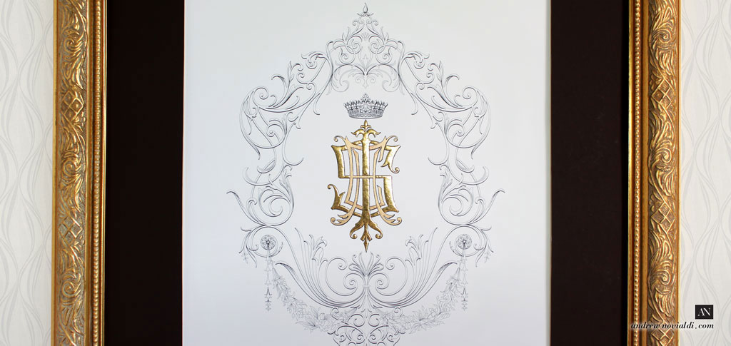 I S E H Monogram Sumptuous Elegant Illustration Gold Family Crest