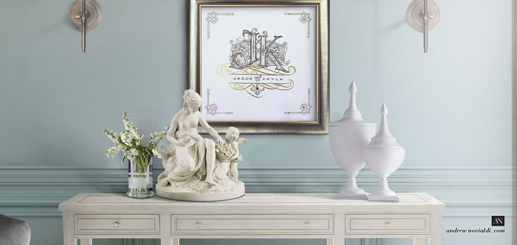 J And K Victorian Cartouche Wedding Monogram Elegant Powder Blue Interior  Venus Sculpture