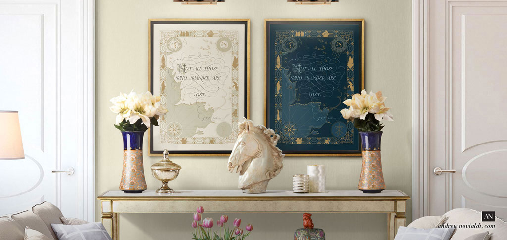 Not All Those Who Wander Are Lost - Tolkien's Quote Classical Cartography Map Framed in Luxurious Interior Furniture