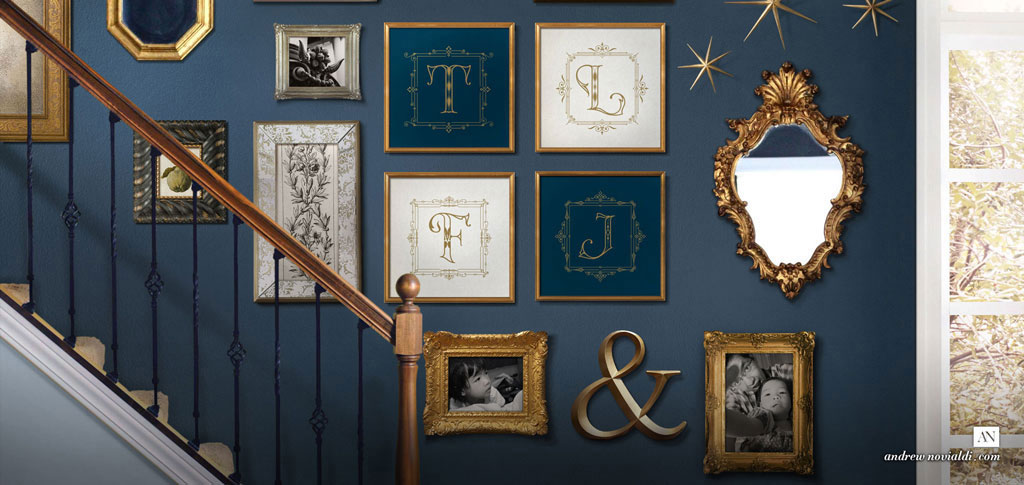 Novialdi Dropcap no. 1 Custom Decorative Vintage Modern Letters Lettering Family Photos