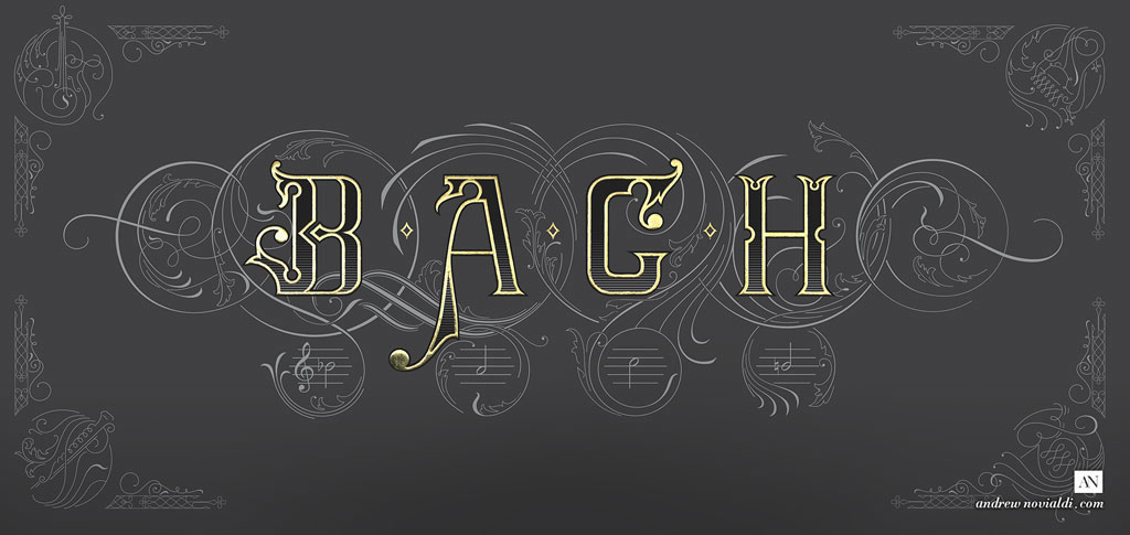 On The Theme of B.A.C.H - The Art of Fugue Contrapunctus XIV Lettering Design