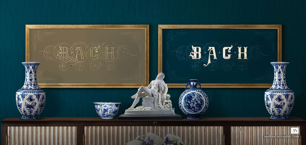 On The Theme of B.A.C.H - The Art of Fugue Contrapunctus XIV Golden Sand Navy Blue Interior