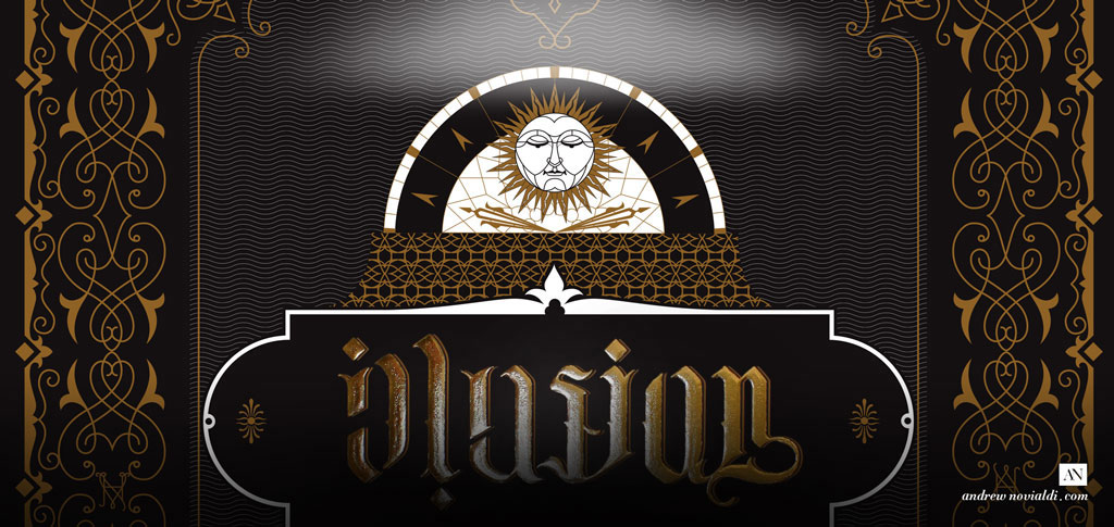 Typollusionist Sun Illusion Ornament Hidden Type Ambigram Gold on Black Calligraphy Poster