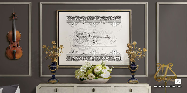 Bach Sonatas and Partitas for Solo Violin Calligraphic Flourishing Detail Church Wrought Iron Poster Design