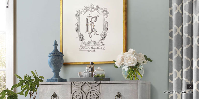 HKC Family Cypher Monogram with Baroque Cartouche Ornament Framed Elegant Living Room With Flowers