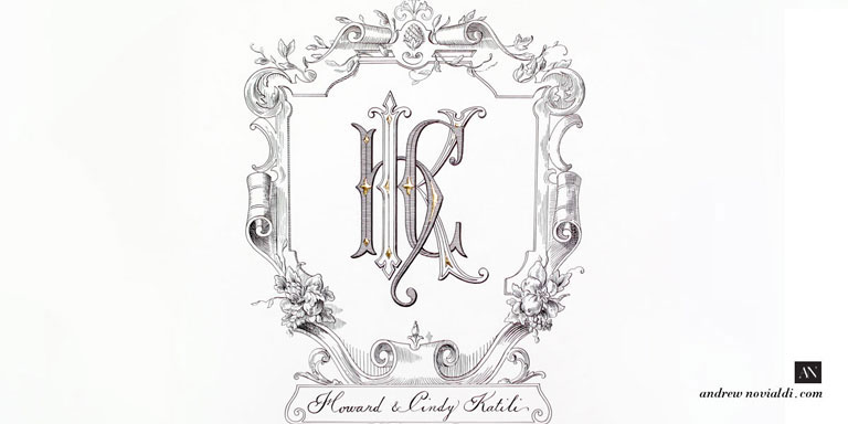H K C Monogram Baroque Cartouche Fruit Bouquet Elegant Lettering Wedding Custom Design
