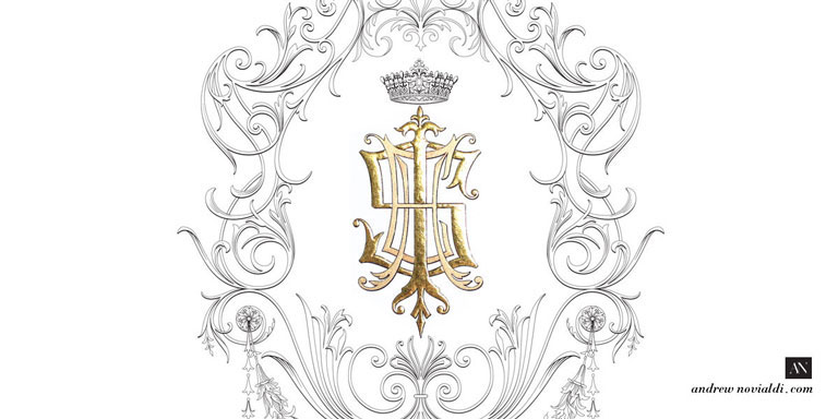 I S E H Family Grand Monogram Gilded with Gold Custom Designed