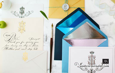I S E H Monogram Personal Luxury Correspondence Envelope and Letterhead Stationery Set Design