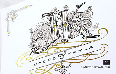 J and K Wedding Monogram Decorated with Baroque Scrollwork Cartouche and Filligree Custom Design