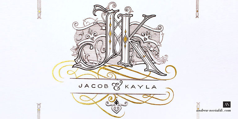 J and K Victorian Cartouche Wedding Monogram Black Ink and Gold