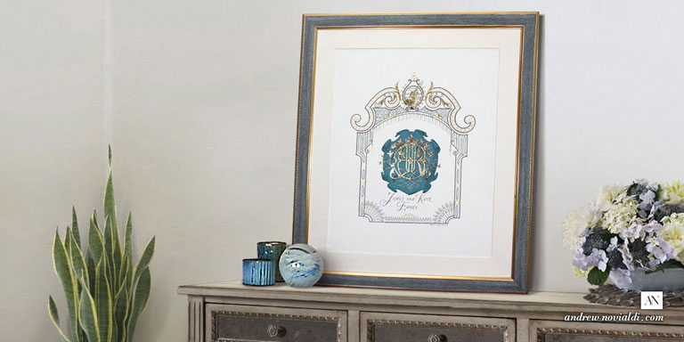 James Ehnes and Kate Wedding Monogram With Royal Heraldry Framed in Beautiful Bedroom Interior