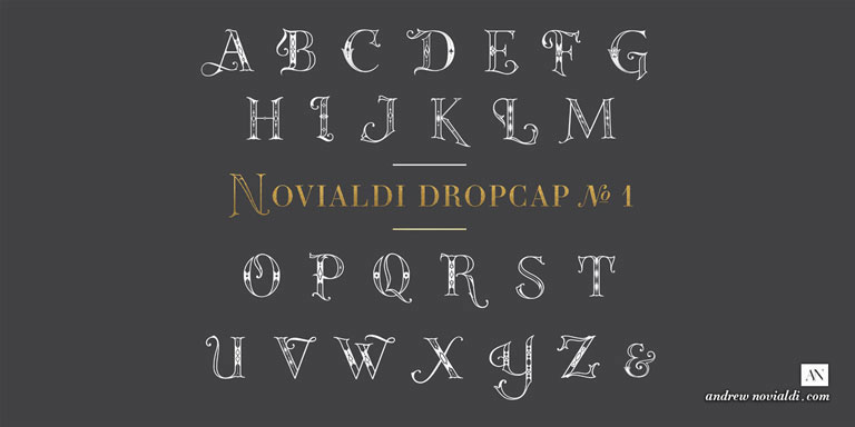 Novialdi Dropcap No.1 Full Set Alphabet Family Glyph Typography.