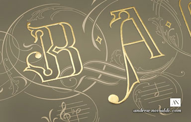 Typographic Lettering of the Name BACH is Gilded with Genuine 24carat Gold