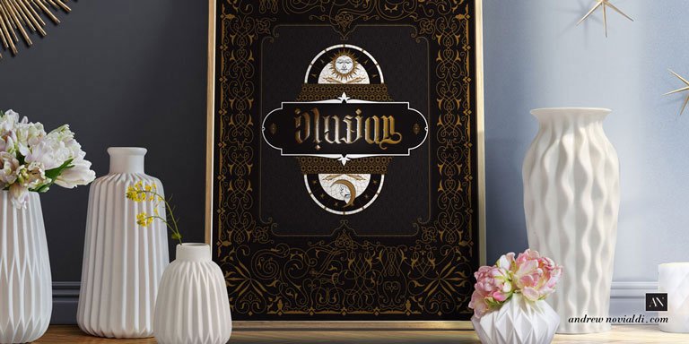Typollusionist Design with Hidden Letters and Symbolism Printed in Gold and Black Tapestry of Decorative Element Illuminated Manuscript