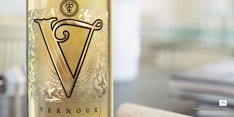 Vernoux French Wines Rich and Sophisticated Lavish Gold on Cabernet Sauvignon Blanc Package Bottle Design