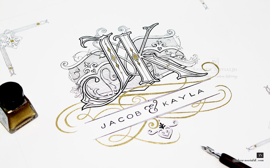 J and K Wedding Monogram Decorated with Baroque Scrollwork Cartouche and Filligree Custom Design.
