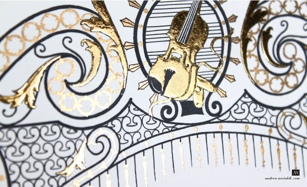 James Ehnes and Kate Monogram Ironwork Design with Gold Violin and Ballet Shoes