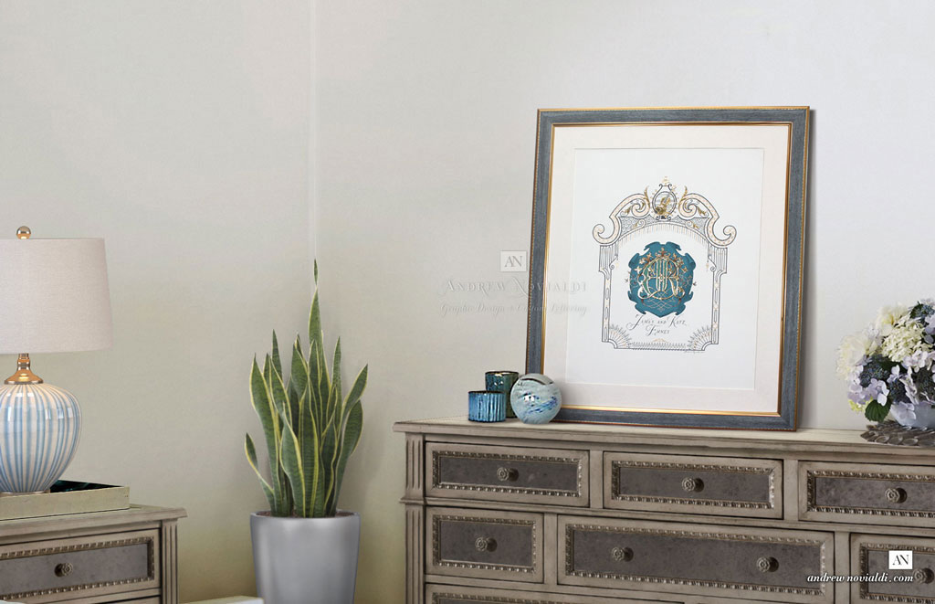 James Ehnes and Kate Family Monogram in Luxurious Blue Teal and Gold Frame in Bedroom Interior