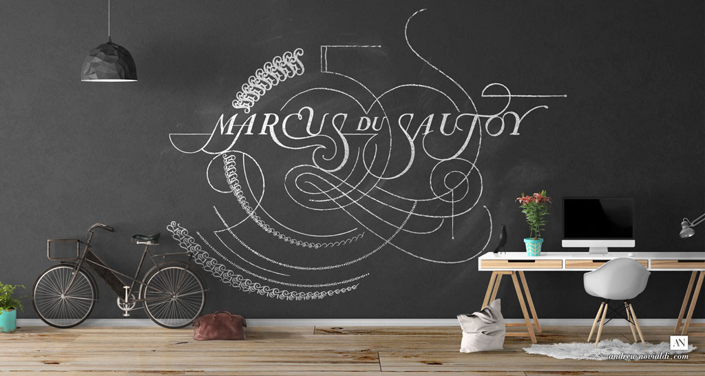 Artistic Mathematical Diagram Design Drawn With Chalk and Black Wall