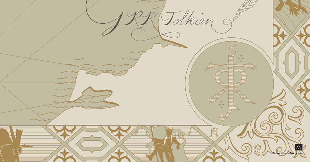 Border Ornament Contains Silhouettes of Various Middle Earth Characters