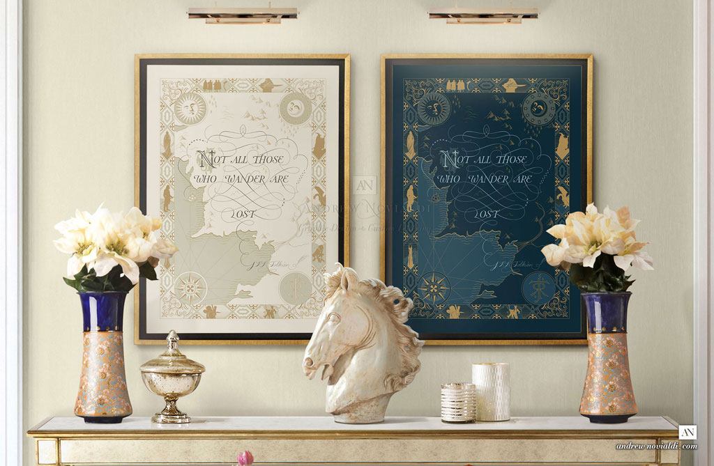 J R R Tolkien Quote Not All Those Who Wander Are Lost Middle Earth Map Cartography Beautiful Map Ivory and Imperial Blue
