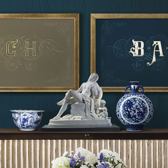 On The Theme of B.A.C.H - The Art of Fugue Contrapunctus XIV Golden Sand Navy Blue Chinese Porcelain Room Design