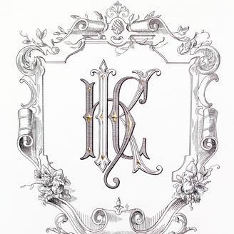 H K C Monogram Baroque Cartouche Fruit Bouquet Elegant Lettering Design