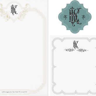 H K C Monogram Baroque Cartouche Personalized Stationery Letterhead Design
