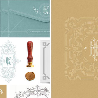 H K C Monogram Baroque Cartouche Personalized Stationery Seal Wax Envelope Card Design