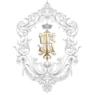 I S E H Monogram Sumptuous Elegant Illustration Family Crest Design