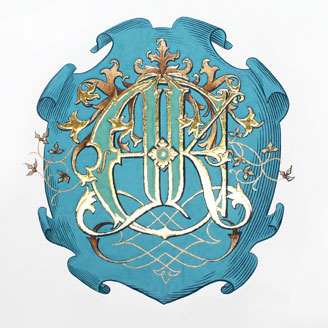 James Ehnes and Kate Monogram Gold Teal Shield Royal Family Crest Design