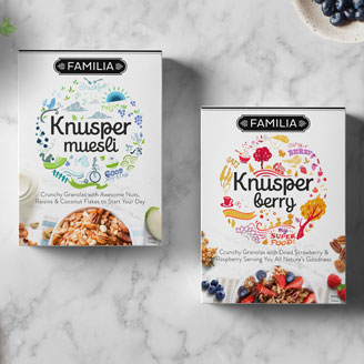 Knusper Organic Muesli Red Strawberry Breakfast Granola Packaging Design