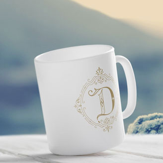 Novialdi Dropcap No. 1 Lettering Font Typography Letter Shop White Coffee Tea Mug Monogram