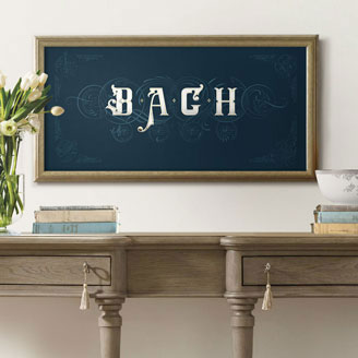On The Theme of B.A.C.H Bach Art of Fugue Gilded with 24k Gold Poster in Navy Blue Artprint Design Buy Wall Art