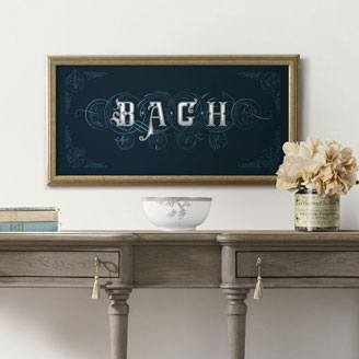 On The Theme of B.A.C.H Bach Art of Fugue Poster in Navy Blue Art of Fugue Music Artprint Design Shop Wall Art