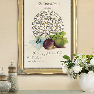 The Shades of Love - Love Blues Figs Watercolor Botanical Illustration Shop Artprint Wall Art Framed Interior Display