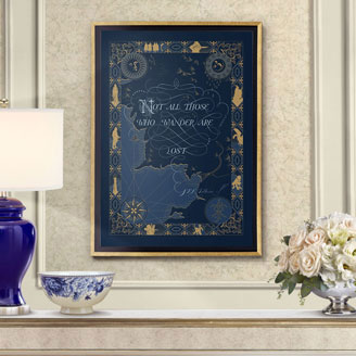 Not All Those Who Wander Are Lost - Tolkien's Quote in Ivory Parchment Buy Wall Art Framed Interior Display