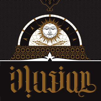 Typollusionist Sun King Ambigram Illusion Gold on Black Lettering Typography Wall Art Artprint Design