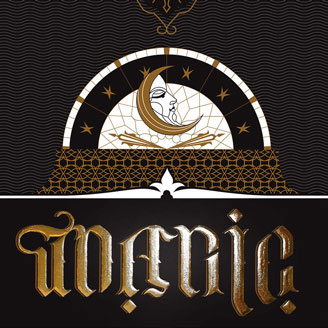 Typollusionist Gilded with 24k Genuine Gold Moon Queen Ambigram Gold on Black Lettering Typography Wall Art Artprint Design
