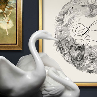 Swan Lake Illustration Engraving Elegant Black Swan Handdrawn White Sculpture Swan Tchaikovsky Ballet
